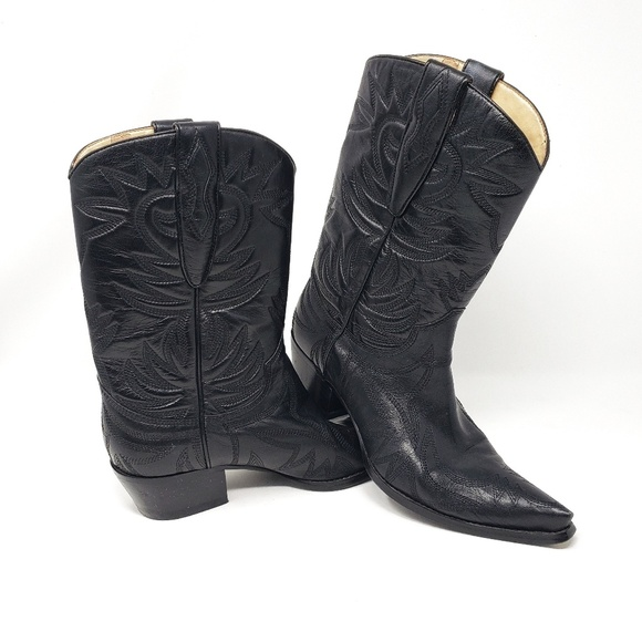 dd0d1c6313a Guess by Marciano   Black Leather Cowboy Boots 7.5